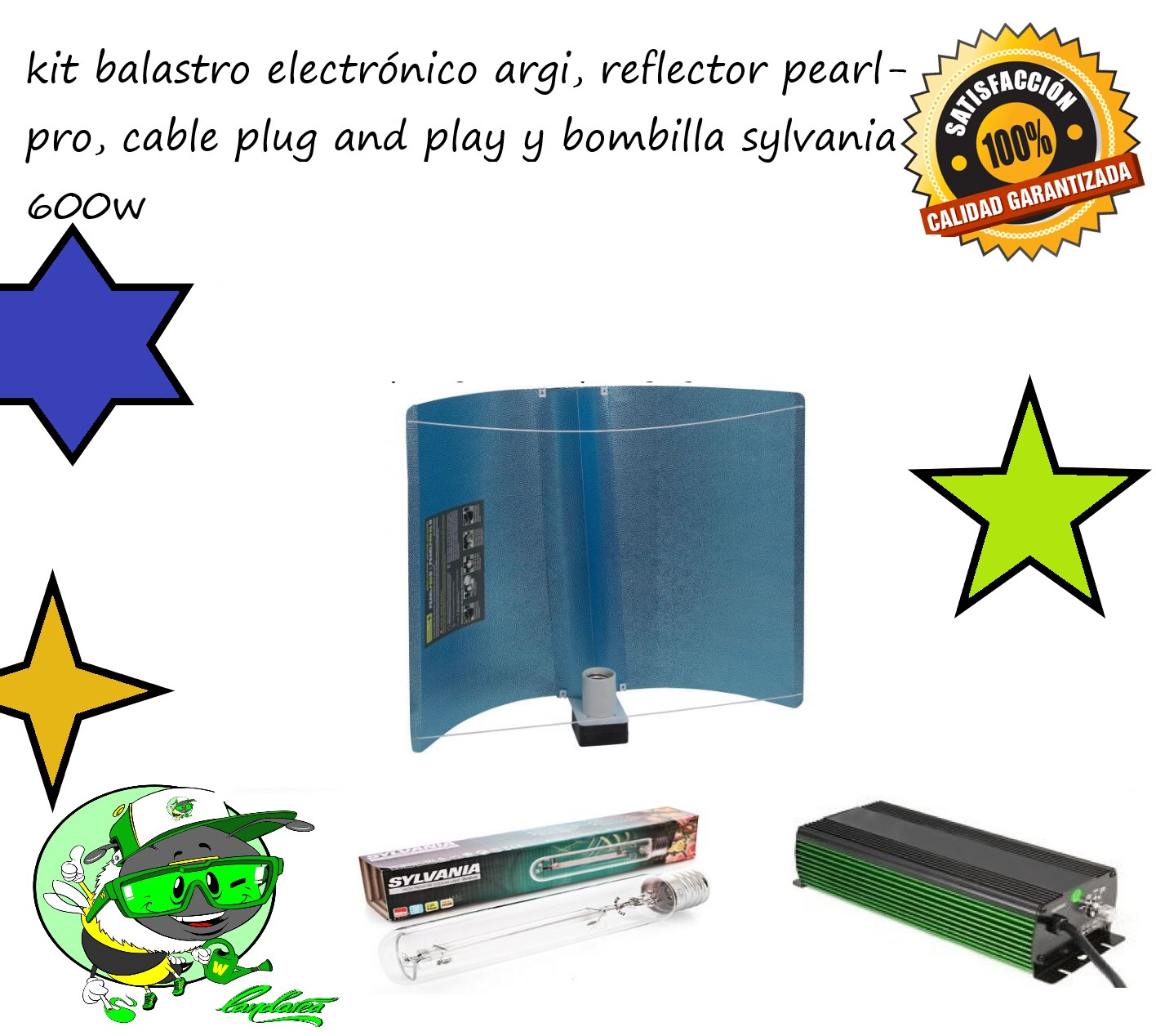 KIT BALASTRO ELECTRONICO ARGI, REFLECTOR PEARL PRO, BOMBILLA SYLVANIA GROLUX, CABLE PLUG AND PLAY 1,5 M